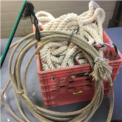 Milk Crate w/Rope, Shanks, Whips & Lariat