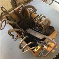 Wooden Box Lot Antique Items: Horse Shoes, Spur, Draw Knife, Shoe Last, etc
