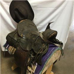 """Vintage15"""" High Back Saddle, Hat, Blanket, Stand"""