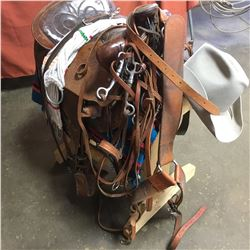 "15"" Saddle, Hat, Blanket, Stand + Bridles, Halter, Breast Strap, Cinch, Reins"
