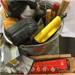 Stainless Pail w/Tool Belt, Hammers, Saws, etc