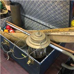 Blue Steamer Suitcase w/Antique Contents: Lantern, Lantern Globes, Yard Sticks, Canes, Pool Balls, C