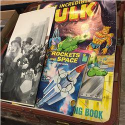 Brown Suitcase w/Hulk Coloring Book &  Paul McCartney & the Wings Poster