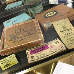 Twenty Grand Tobacco Tin, Cigar Boxes, Players Cig Tin, Sask Liquor Board Beer Coupon Book, Gasoline