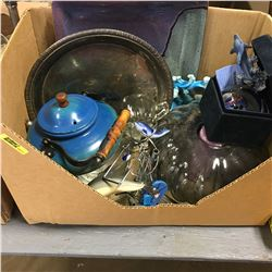 Box Lot: Blue is the Theme! (Dolphin Ornaments, Plater, Glassware, etc)