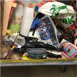 Tray Lot: Retro Pop Culture Memorabilia (Three's Company Trading Cards, Battle Star Galactica Figuri