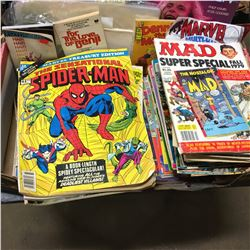 Tray Lot: Collection of Comic Books, Retro Magazines, Beatles Book, etc ! Must Look !