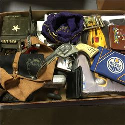 Tray Lot: Retro Toys (Marbles, Jeep, Gun/Holster, Wallets, etc)