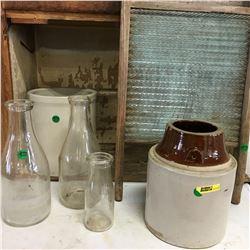 Washboard, Milk Bottles, & Crockery