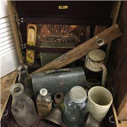 Vintage Suitcase w/ Antique Starter Kit (including Lunch Kit, Milk Bottles, etc)
