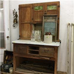 Rustic Hoosier Style Kitchen Cupboard w/Flour Dispenser