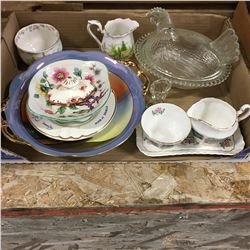 Tray Lot: Assorted Glassware (Including Nesting Hen, Royal Albert, Noritake, etc)