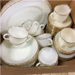 Box Lot: Fire King - Gold Rimmed White Dish Set