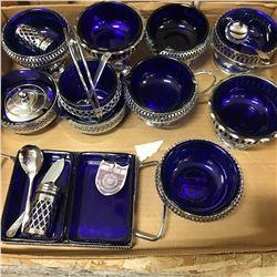 Tray Lot: Silver Lined Cobalt Blue Serving Set