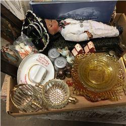 Tray Lot: Depression Glass, Carving Set, 2000 Millennium Canada Coin Set, Salt & Pepper Shakers, etc