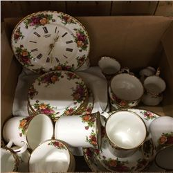 Box Lot: Old Country Rose Dish Set (Including Clock)