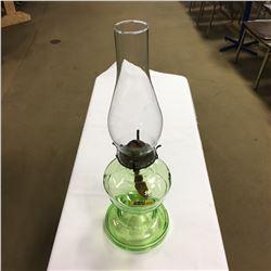 Coal Oil Lamp - Green Glass Base