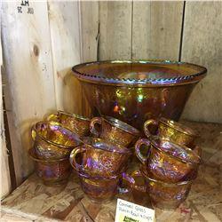 Iridized Carnival Glass Punch Bowl Set