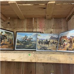 4 Framed Western Theme Pictures