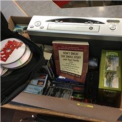 Box Lot: CD's, VCR, VHS Movies & Books