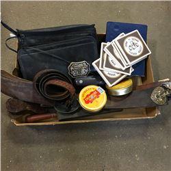 Tray Lot: Strops, Tobacco Tins, John Deere Tractor Coasters, Bag Phone, etc