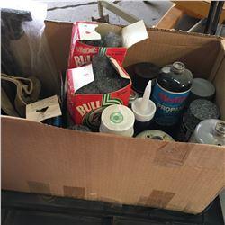 Rolling Work Table w/Lamp & Box Lot (Asstd Small Propane Tanks, Paint, Steel Wool, etc)