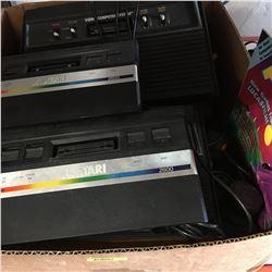 Box Lot: 2 ATARI Video Computer Systems & 2 ATARI 2600 Systems & Controllers & Joysticks & Manuals