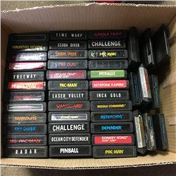 Box Lot: ATARI Game Collection (45) (Including: PacMan, Donkey Kong, Ms PacMan, Pinball, Spiderman,