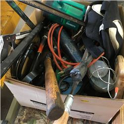 Box Lot: Trouble Light, File, Hammers, Grease Gun, Hack Saw, Meat Saw, etc