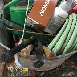 Galvanized Tub w/Contents: Garden Supplies (Sprayer, Duck Shape Gate Latch, Grass Whip, etc)