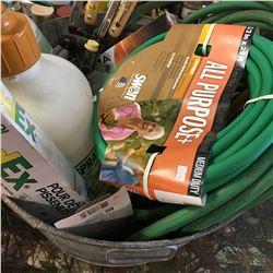 Galvanized Tub w/Contents: Garden Supplies (Sprayers, Garden Hose, Hedge Trimmers, Sprinklers, etc)