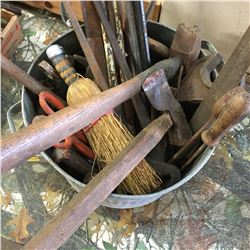 Galvanized Tub: Variety of Vintage Tools (Hatchet/Hammer, Funnels, Wrenches, Tin Snips, etc)