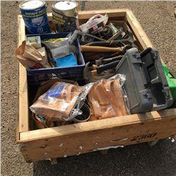 Crate Lot: Hammer, Carpentry Pouches, Screws, Roofing Nails, Castors, etc