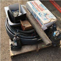 Pallet Lot: Submersible Pumps, ABS Hose, Sink Tiles, etc