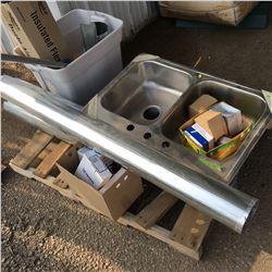 Pallet Lot: Stainless Steel Double Sink, Ducting, Door Knobs, etc