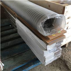 Half Pallet Lot: Laminate Flooring, Underlay (Geneva Collection) 8mm (4 Full boxes & Partial Box)