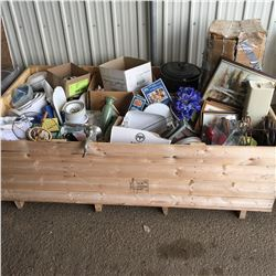Crate Lot: Dishes, Décor, Drapes, Meat Grinder, Canner
