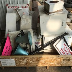 Crate Lot: Auction Signs, Speaker Boxes, Speaker