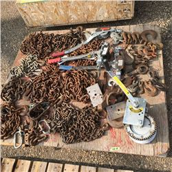 Pallet Lot: Chains, Hooks, Come-A-Longs, Boat Winch