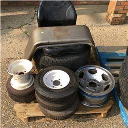 Pallet Lot: CAT Seat, Trailer Fenders, Tires