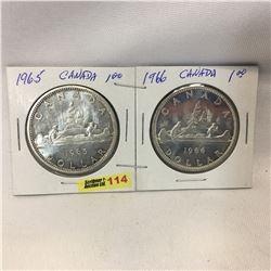 Canada Silver Dollar - Set of 2: 1965; 1966