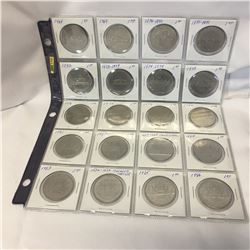 Canada Silver Dollar - Sheet of 20: 1968; 1969; 1870-1970; 1871-1971; 1972; 1873-1973; 1874-1974; 19