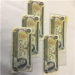Canada $1 Bill 1973 - Set of 5: AM5073316; GA4044132; AD0381870; AD0659620; ALB0121110