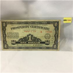 """The Government of the Province of Alberta """"Prosperity Certificate"""" 1936"""