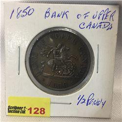 Bank of Upper Canada Half Penny 1850