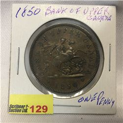 Bank of Upper Canada One Penny 1850