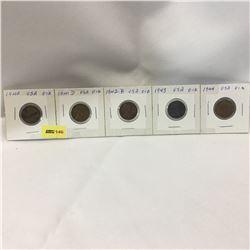 USA One Cent - Set of 5: 1940; 1941D; 1942D; 1943; 1944