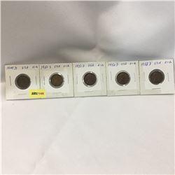 USA One Cent - Set of 5: 1949D; 1950S; 1951D; 1952D; 1953D