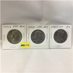 USA Fifty Cent - Set of 3: 1971D; 1972D; 1973D