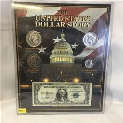 The United States Dollar Story (4 Coins & 1 Bill) 1921 Morgan Dollar; 1922 Peace Dollar; 1972 Eisenh
